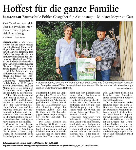Zeitungsausschnitt_NWZ_Hoffest