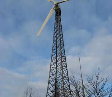Die betriebseigene Windkraftanlage